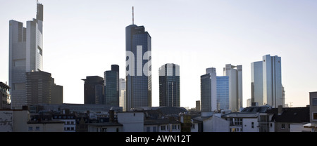 Panorama skyline of Frankfurt, view onto the high-rise buildings of Frankfurt with Commerzbank and ECB in backlight, - Stock Photo