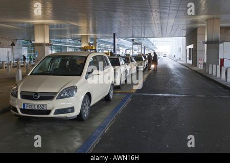 Taxi stand, Terminal 2, Frankfurt Airport, Frankfurt, Hesse, Germany, Europe - Stock Photo