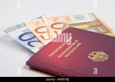 Passport: rising costs associated with applying for a new passport, Euro currency used in many countries - Stock Photo