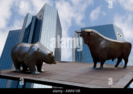 Twin towers of the Deutsche Bank with bull and bear sculptures for the Deutsche Boerse (composing shot), Frankfurt, - Stock Photo