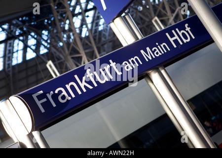 Sign, Frankfurt am Main Hbf (Frankfurt central rail station), Frankfurt, Hesse, Germany, Europe - Stock Photo
