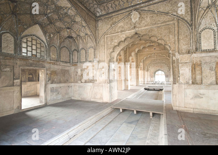 Inside the Rang Mahal in the Red Fort in Delhi in India - Stock Photo