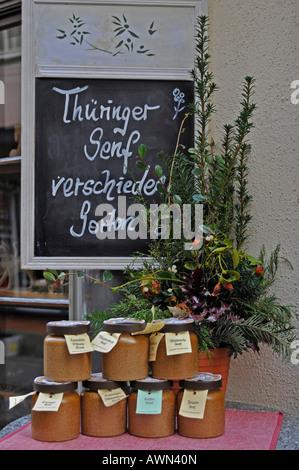 Storefront wares, Kraemerbruecke (bridge), Erfurt, Thuringia, Germany, Europe - Stock Photo