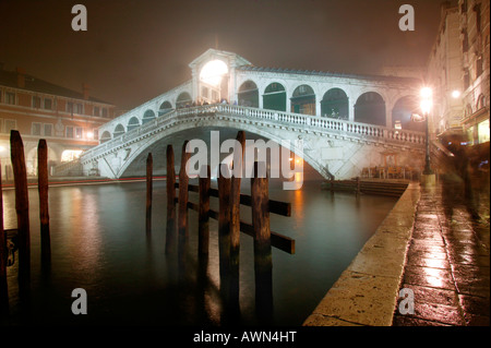 Rialto-Bridge at the Canal Grande, Venice, Italy, Europe - Stock Photo