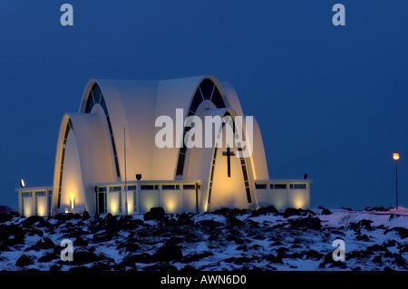 Kopavogur church Reykjavik Iceland - Stock Photo