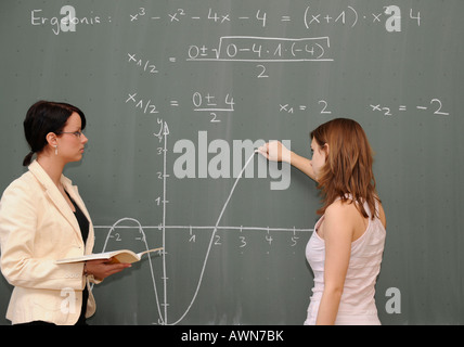Young female teacher teaching maths - Stock Photo