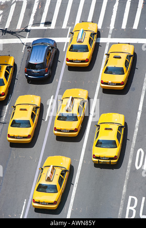 Car and new york taxicabs - Stock Photo