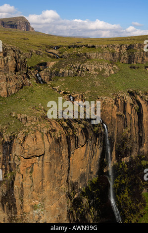 Waterfall at the Western Buttress, Drakensberg Mountain, South Africa - Stock Photo