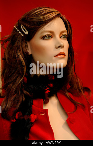 Female mannequin with hair clips and shawl, Erlangen, Middle Franconia, Bavaria, Germany, Europe - Stock Photo