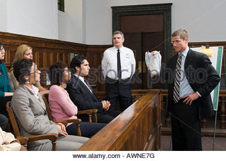A lawyer and the jury - Stock Photo