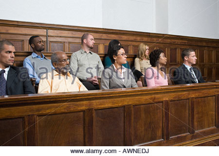 Jurors in the jury box - Stock Photo