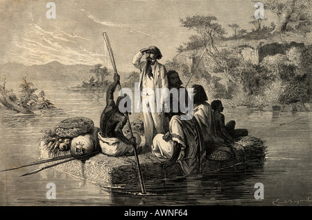 Journey in Abyssinia. 19th century print engraved by C Laplante from an illustration by Emile Bayard - Stock Photo