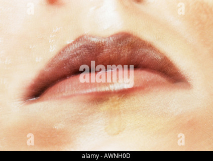 Woman's mouth, close up. - Stock Photo