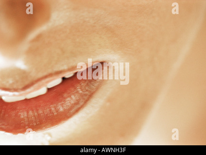 Woman's mouth, close up, high angle view - Stock Photo