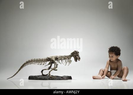 Boy and a dinosaur skeleton - Stock Photo