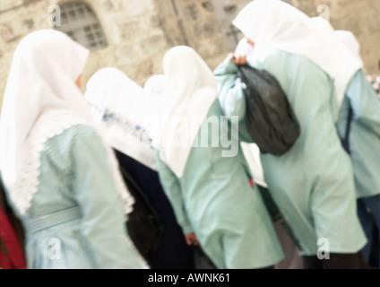 Israel, Jerusalem, Israel, Jerusalem, women wearing headscarves, rear view - Stock Photo