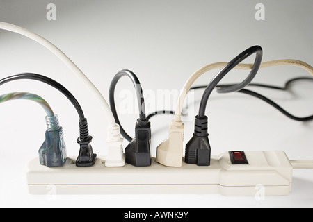 Electric plugs and electrical sockets - Stock Photo