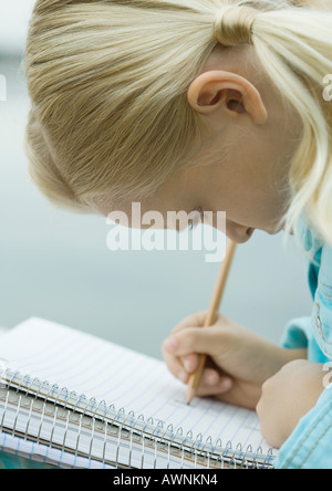 Girl writing in notebook - Stock Photo