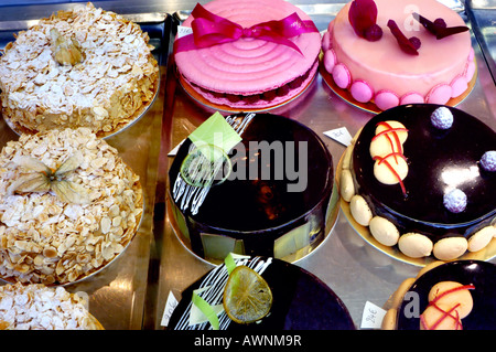 French Food, France Shopping Bakery Store French Cakes 'Gaulupeau' Pastries Display - Stock Photo