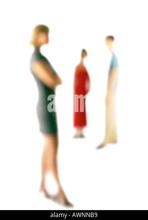 Silhouette of three people standing apart, on white background, defocused - Stock Photo