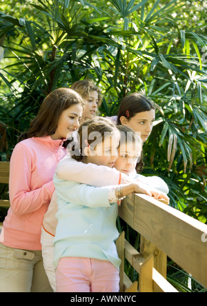 Group of girls looking over wooden fence - Stock Photo