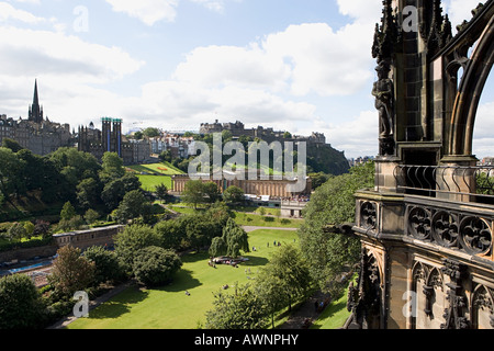 View of edinburgh from scotts monument - Stock Photo
