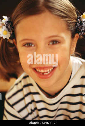 Little girl smiling, close-up, portrait - Stock Photo