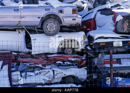 Cars piled high at the scrap yard 1 - Stock Photo