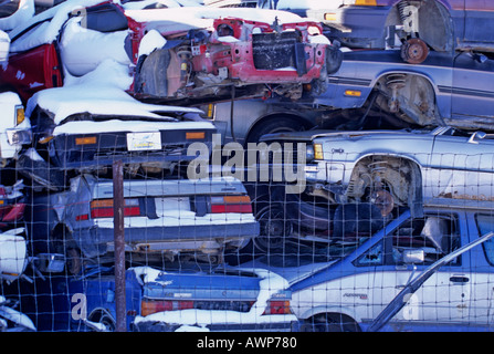 Cars piled high at the scrap yard 2 - Stock Photo