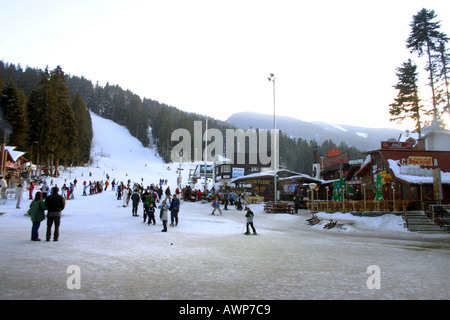 Main Piste looking from the front of Hotel Rila Borovets Ski Resort BULGARIA - Stock Photo