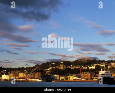 Oban from across the bay in evening light Oban Argyll and Bute Scotland UK - Stock Photo