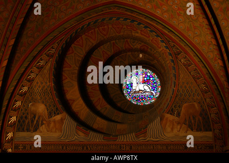 Church windows of the Matthias church in the old part of Budapest, Hungary, Europe - Stock Photo