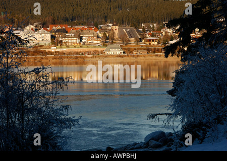 The town of Schluchsee (Schluch Lake) situated on the lake of the same name, Black Forest, Baden-Wuerttemberg, Germany, - Stock Photo