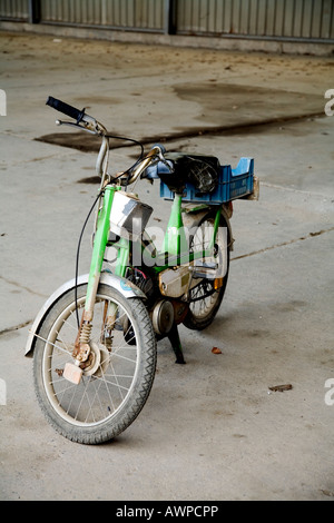 Old moped used by the Belgian army, North Rhine-Westphalia, Germany, Europe