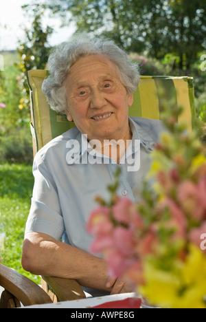Senior celebrating her 85th birthday - Stock Photo