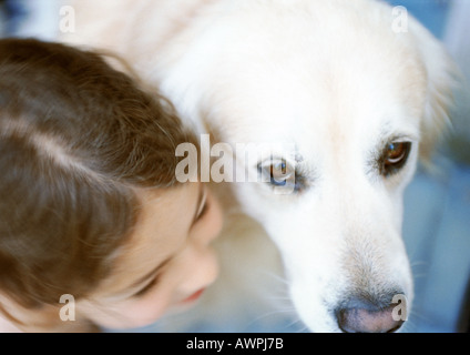 Girl and dog side by side, elevated view - Stock Photo