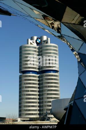 BMW headquarters seen from BMW Welt (BMW World) exhibition centre in Munich, Bavaria, Germany, Europe - Stock Photo