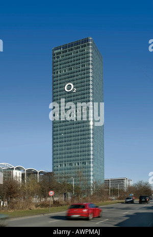 O2 (telecommunications company) logo on a high-rise in Munich, Bavaria, Germany, Europe - Stock Photo