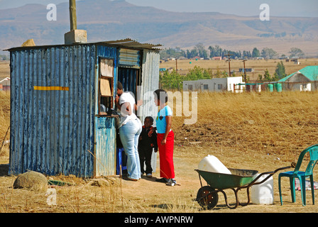 Shopping in the Midlands, the landscape before the Drakens Mountains, KwaZulu-Natal, South Africa - Stock Photo