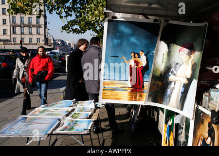 Antiquarians selling books along the Seine near the Notre-Dame in Paris, France, Europe - Stock Photo