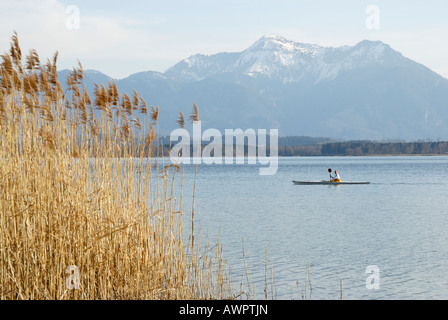 Kayaker on the Chiemsee (Chiem Lake), Chiemgau Alps in the background, Upper Bavaria, Bavaria, Germany, Europe - Stock Photo