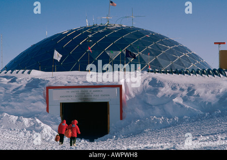 The 165 ft 50 m dome covering the at the United States Amundsen Scott South Pole Station Antarctica - Stock Photo