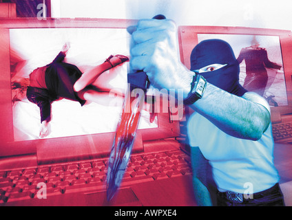 Masked man holding dagger, laptops with murder victims on screen in background, digital composite. - Stock Photo