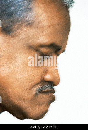 Senior man, side view, close-up. - Stock Photo