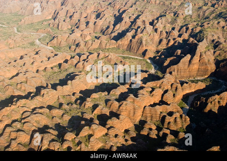 Purnululu National Park, Bungle Bungle Range, aerial view, Unesco World Heritage Site, Kimberley, Western Australia, - Stock Photo