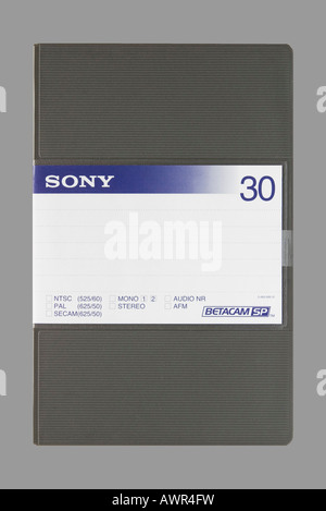 Casing of a Sony Beta SP magnetic cassette tape - Stock Photo