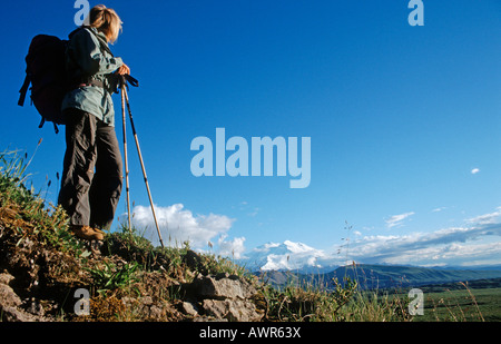 Hiking through Denali National Park, Mt. McKinley in background, Alaska, USA - Stock Photo