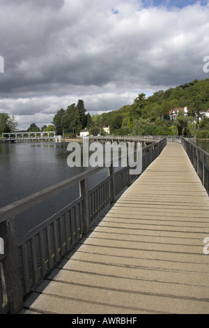 The Footbridge Over the River Thames and Weir by Marsh Lock Henley on Thames Oxfordshire UK - Stock Photo