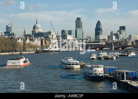The City of London viewed along the Thames from Waterloo Bridge, including St Paul's, Blackfriars Bridge and tall - Stock Photo