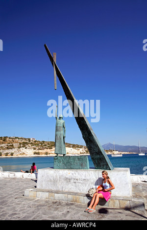 greece northern aegean islands samos the monument to pythagoras in pythagorion - Stock Photo